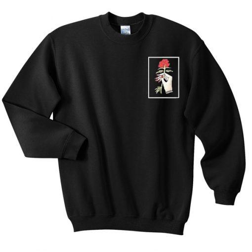 rose hand sweatshirt