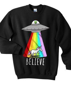 unicorn flying saucer alien sweatshirt